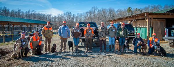 The volunteer dog handlers for the pheasant hunt.